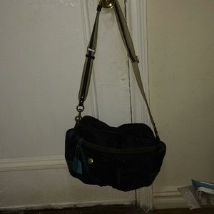 Authentic Coach Messenger Bag w/ Brown Suede Trim